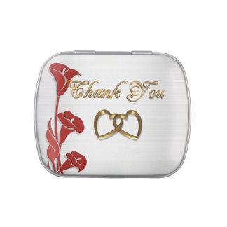 Thank you favor candy tin Calla lilies