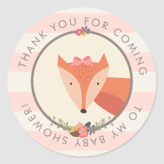 Thank You Favor Fox Girl Baby Shower Classic Round Sticker