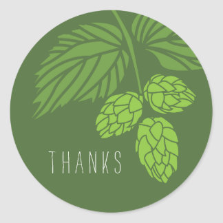 Thank You Favor Label, Hops, Beer Classic Round Sticker