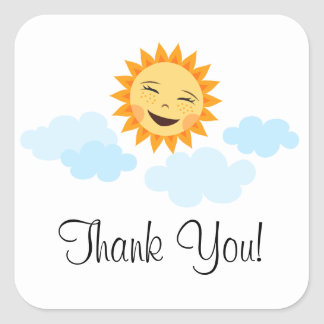 Thank you favor labels or seals with cartoon sun square sticker
