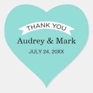 Thank You Favor Sticker | Aqua Blue