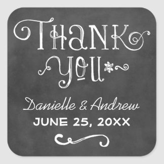 Thank You Favor Sticker | Black Chalkboard Charm Square Sticker