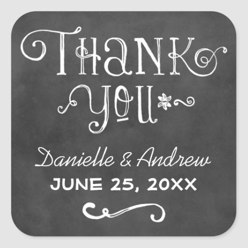 Thank You Favor Sticker Black Chalkboard Charm