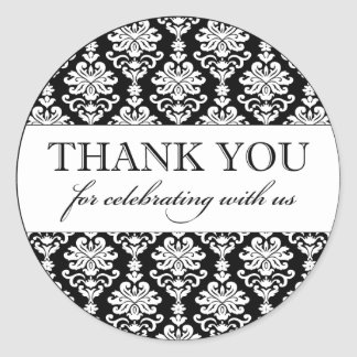 Thank You Favor Sticker | Black White Damask