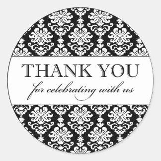Thank You Favor Sticker | Black White Damask