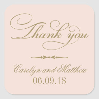 Thank You Favor Sticker | Blush and Antique Gold