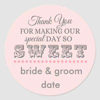 Thank you favor sticker for weddings and showers