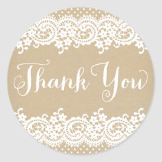Thank You Favor Sticker | Lace and Kraft
