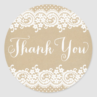 Thank You Favor Sticker   Lace and Kraft