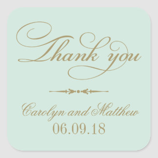 Thank You Favor Sticker | Mint and Antique Gold