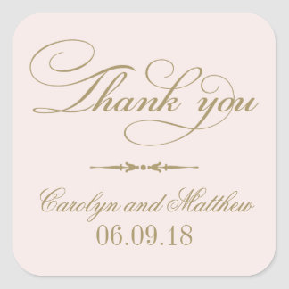 Thank You Favor Sticker | Pale Pink and Antique Square Sticker