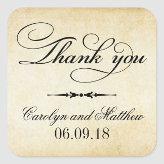Thank You Favor Sticker | Vintage Style Square Sticker