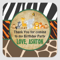 Thank You Favor Tag Jungle Safari Birthday Party