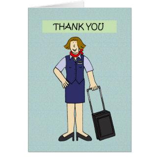 Thank you female cabin crew. card