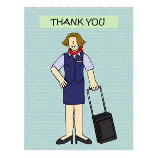 Thank you female cabin crew. postcard