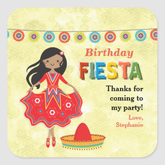 Thank You Fiesta Birthday Party Square Sticker