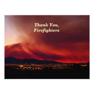 """Thank You, Firefighters, Sky on Fire Poster 24x18"""" Photo Art"""