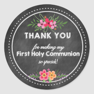 Thank you First Holy Communion Chalkboard Classic Round Sticker