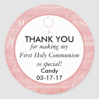 Thank you First Holy Communion Girl Classic Round Sticker