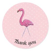 Thank you flamingo polka dot round sticker