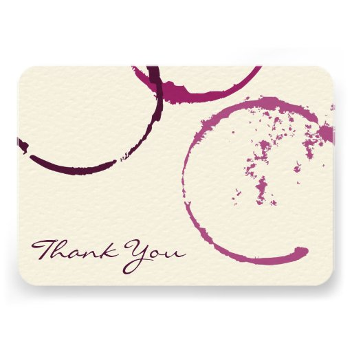 Thank You Flat Note Cards   Wine Stain Rings