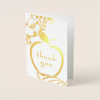 Thank You Floral Apple Gold Foil Foil Card