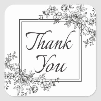 Thank You Floral Black And White Fower Square Sticker