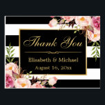 "Thank You - Floral Black White Stripes Gold Frame Postcard<br><div class=""desc"">================= ABOUT THIS DESIGN ================= Floral Black White Stripes Gold Frame Thank You Card. (1) All text style, colors, sizes can be modified to fit your needs. (2) If you need any customization or matching items, please contact me. (3) You can find matching products (e.g. Invites, RSVP card, Reception Card,...</div>"