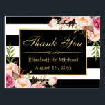 """Thank You - Floral Black White Stripes Gold Frame Postcard<br><div class=""""desc"""">================= ABOUT THIS DESIGN ================= Floral Black White Stripes Gold Frame Thank You Card. (1) All text style, colors, sizes can be modified to fit your needs. (2) If you need any customization or matching items, please contact me. (3) You can find matching products (e.g. Invites, RSVP card, Reception Card,...</div>"""