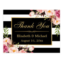 Thank You - Floral Black White Stripes Gold Frame Postcard