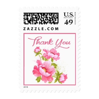 Thank You Floral Pink Peony Flower Stamp