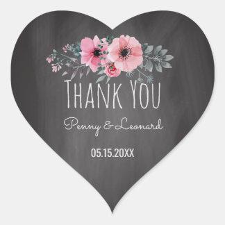 Thank You Floral | Wedding Favor Chalkboard Heart Sticker