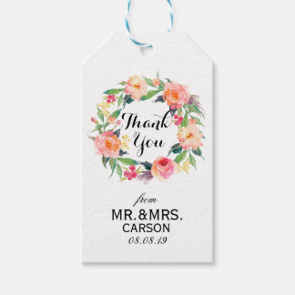 """""""Thank You"""" Floral Wreath Wedding Favor2 Gift Tags"""