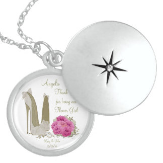 Thank you Flower Girl Necklace Gift