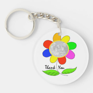 Thank you flower photo keychain