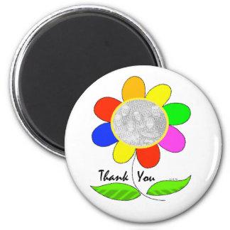 Thank you flower photo fridge magnet