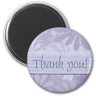 Thank you/flowers purple 2 inch round magnet