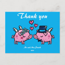 Thank you flying pig bride and groom postcard