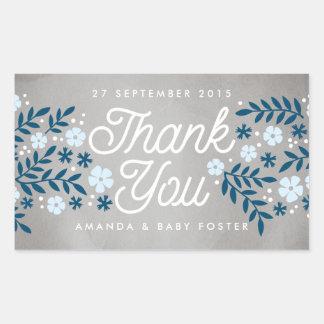 Thank You Folk Floral Blue Baby Shower Favor Rectangular Sticker