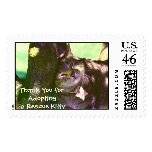 Thank You for Adopting A Rescue Kitty Postage Stamp