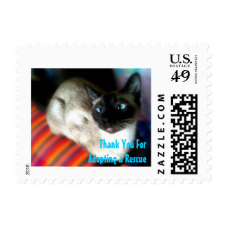 Thank You for Adopting a Rescue. Siamese Cat Stamp