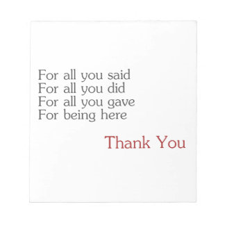 Thank you for all notepad