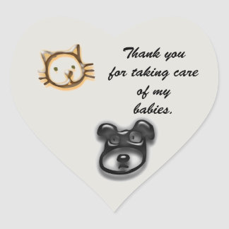 Thank You for Animal Caregiver Cat and Dog Heart Sticker