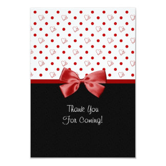 """Thank You For Attending Girly Red Hearts 3.5"""" X 5"""" Invitation Card"""
