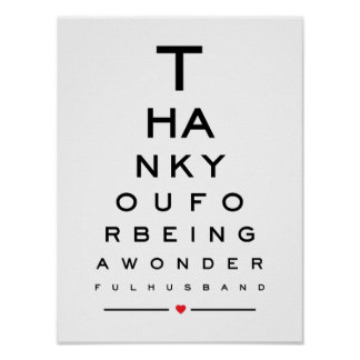 Thank you for being a wonderful husband eye chart