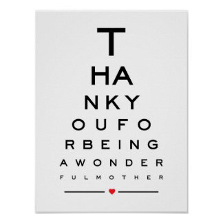 Thank you for being a wonderful mother eye chart