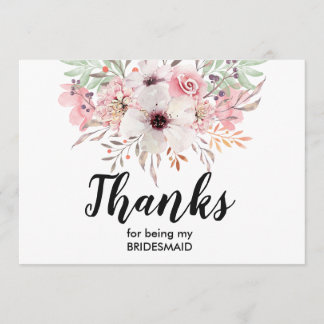 Thank You For Being My Bridesmaid Card | Floral
