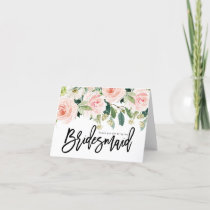 thank you for being my bridesmaid card floral
