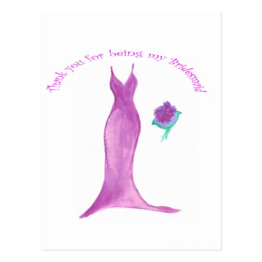 Thank you for Being my Bridesmaid Post Card