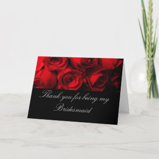 """""""Thank You for Being My Bridesmaid"""" - Red Rose Bou Thank You Card"""